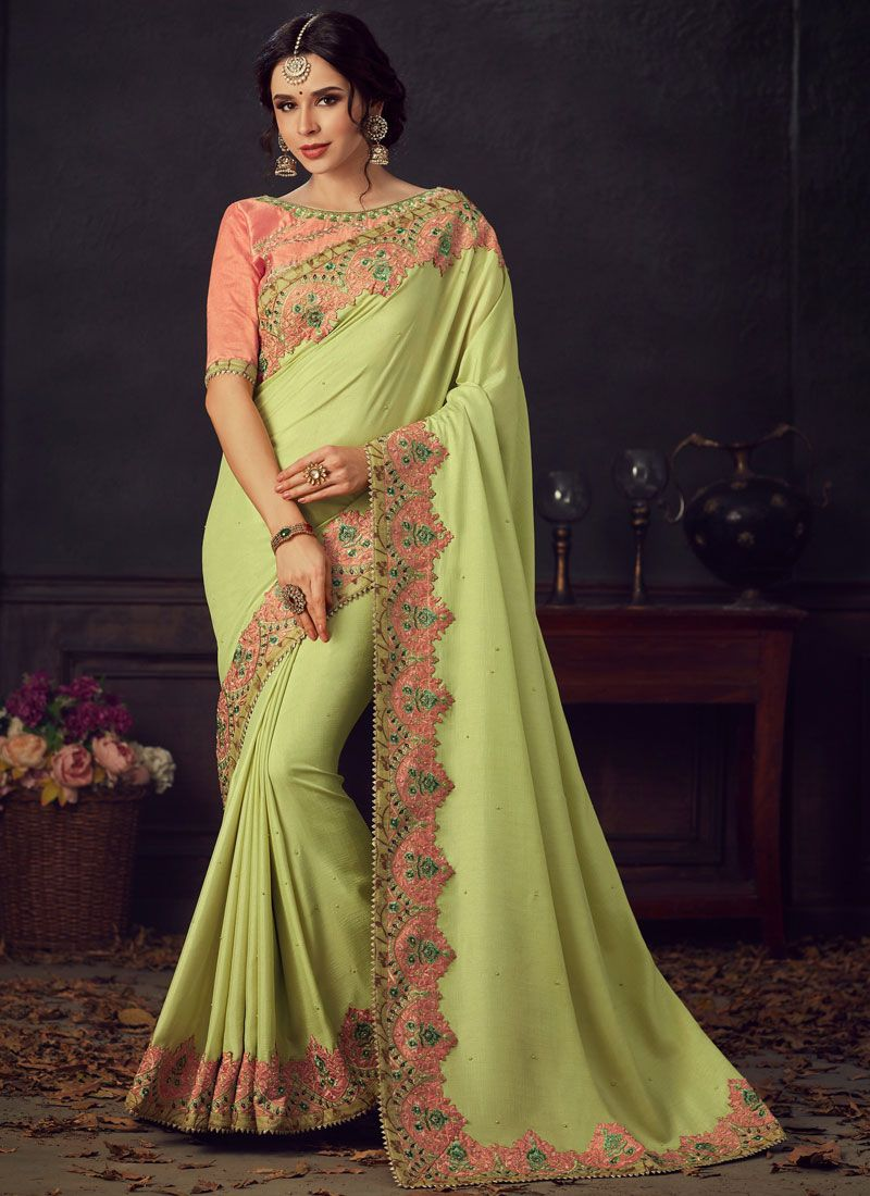 Green Embroidered Designer Saree