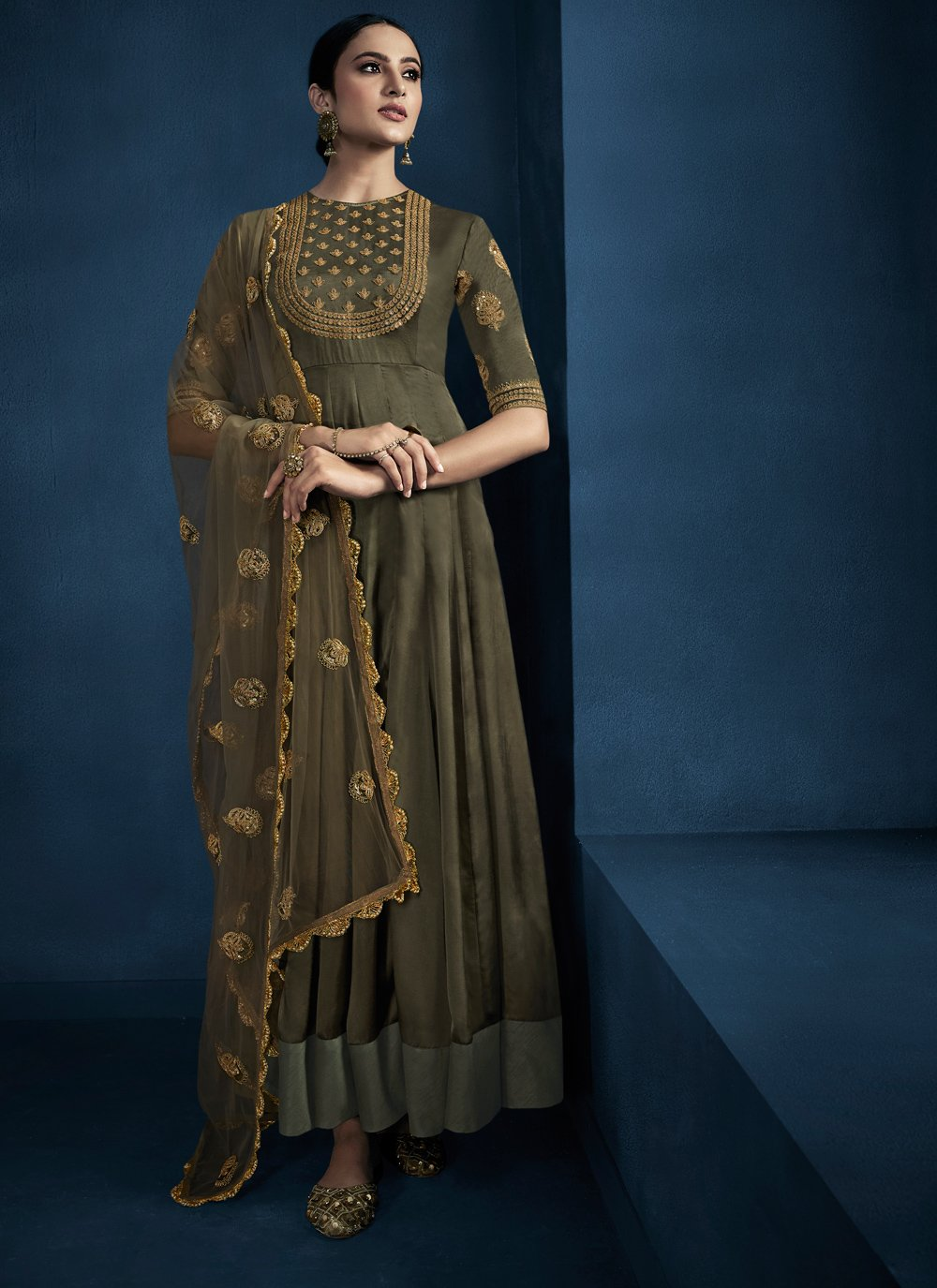 Green Embroidered Fancy Fabric Trendy Gown