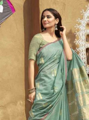 Green Embroidered Festival Casual Saree