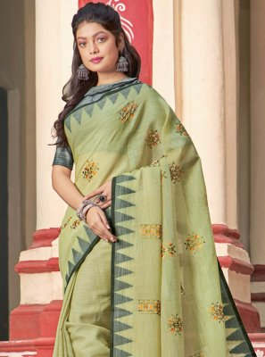 Green Embroidered Festival Classic Saree