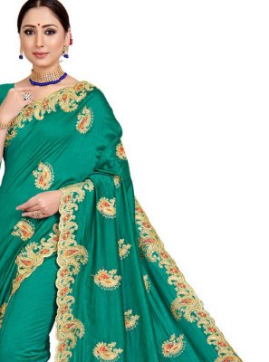 Green Embroidered Festival Designer Saree