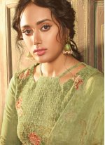 Green Embroidered Festival Designer Straight Salwar Kameez
