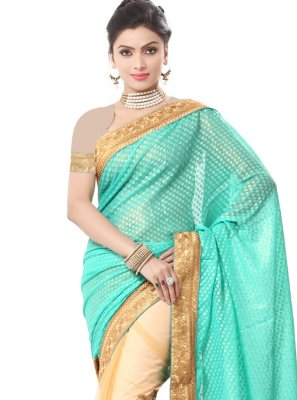 Green Embroidered Festival Half N Half  Saree