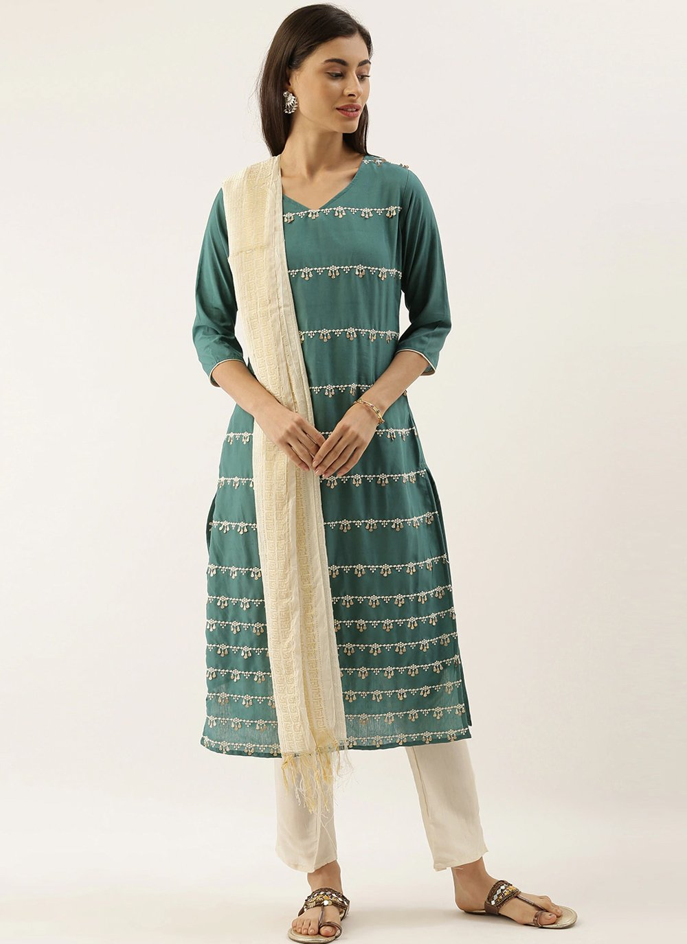 Green Embroidered Festival Trendy Salwar Suit