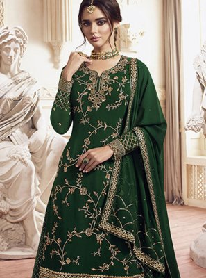 Green Embroidered Georgette Designer Palazzo Suit