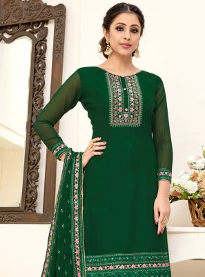 Green Embroidered Georgette Designer Straight Salwar Suit