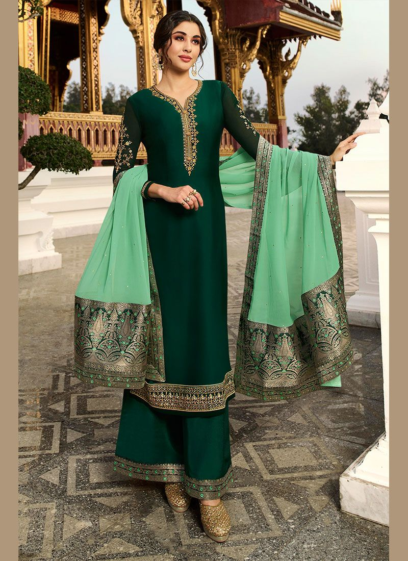 Green Embroidered Georgette Satin Designer Palazzo Suit