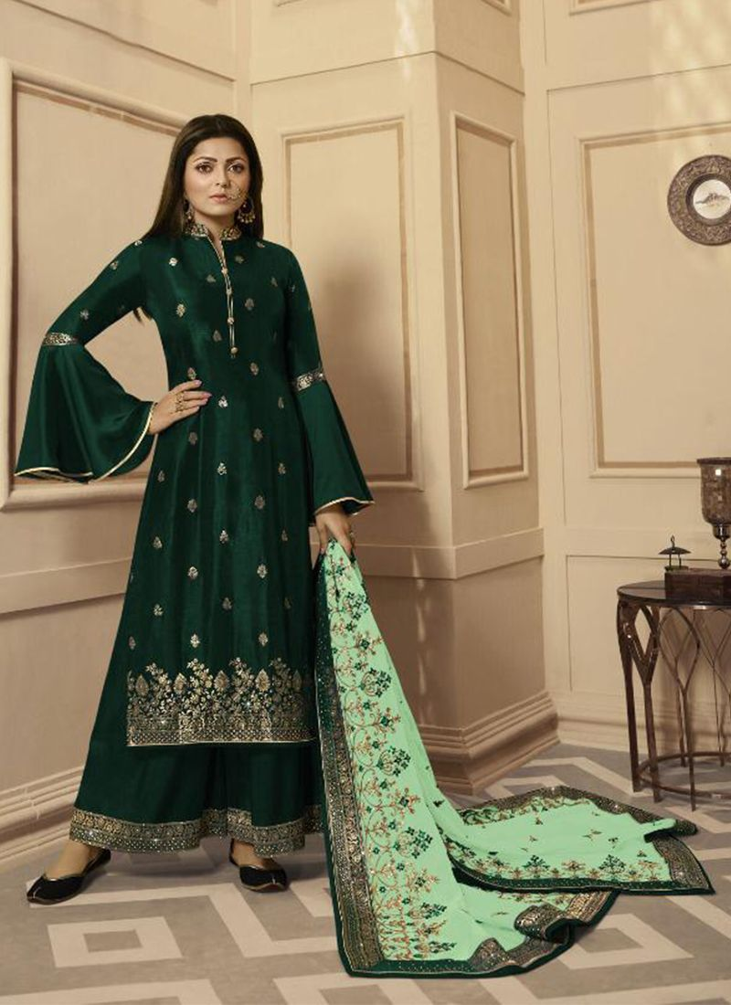 Green Embroidered Georgette Satin Palazzo Salwar Suit