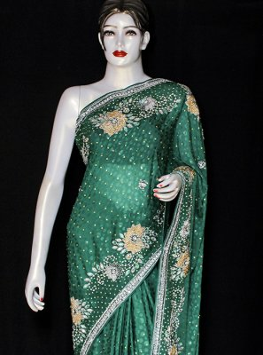 Green Embroidered Jacquard Designer Saree