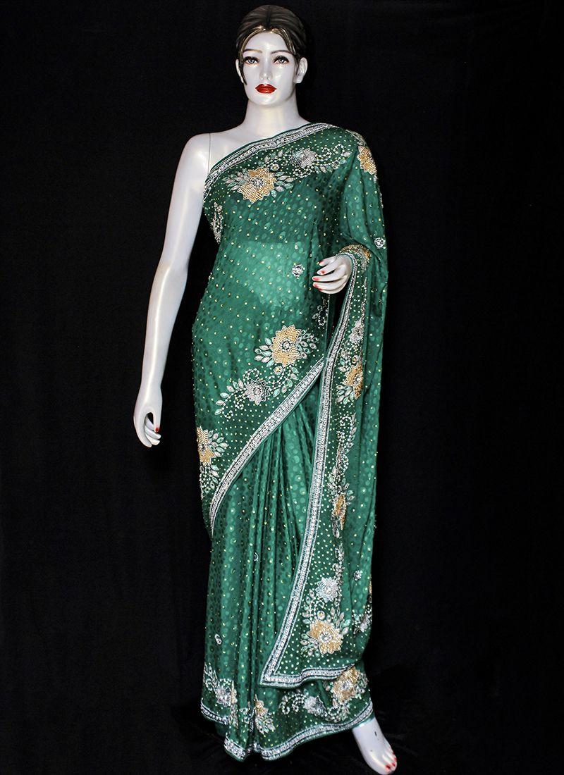 Green Embroidered Jacquard Designer Saree