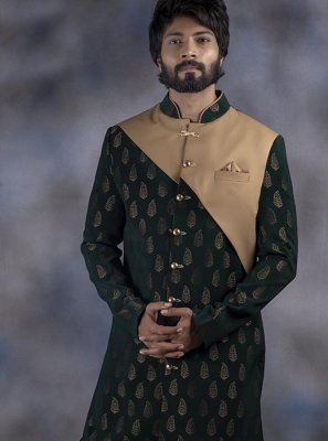 Green Embroidered Jacquard Indo Western