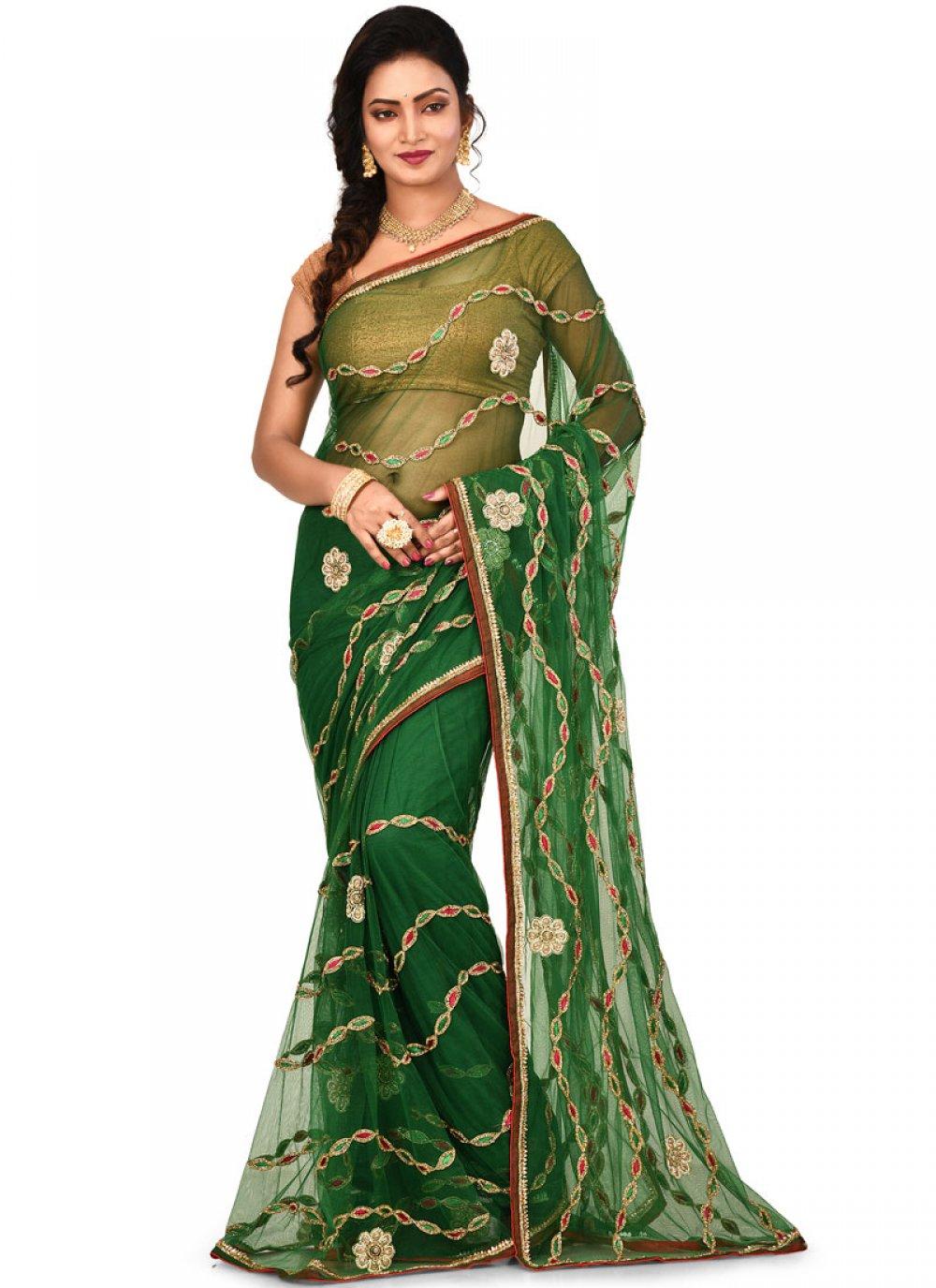 Green Embroidered Mehndi Designer Saree