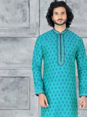 Green Embroidered Mehndi Kurta Pyjama