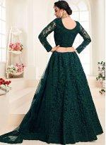Green Embroidered Net Trendy A Line Lehenga Choli