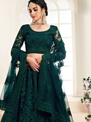 Green Embroidered Net Trendy A Line Lehenga Choli