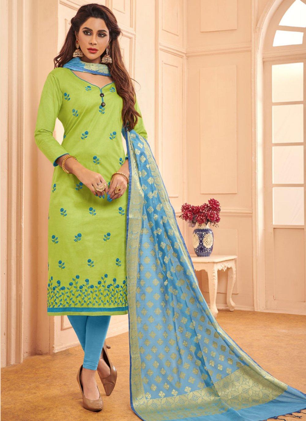 Green Embroidered Party Designer Salwar Kameez