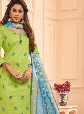 Green Embroidered Party Designer Salwar Kameez