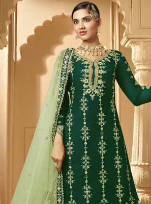 Green Embroidered Party Salwar Suit