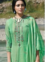 Green Embroidered Party Trendy Palazzo Salwar Suit
