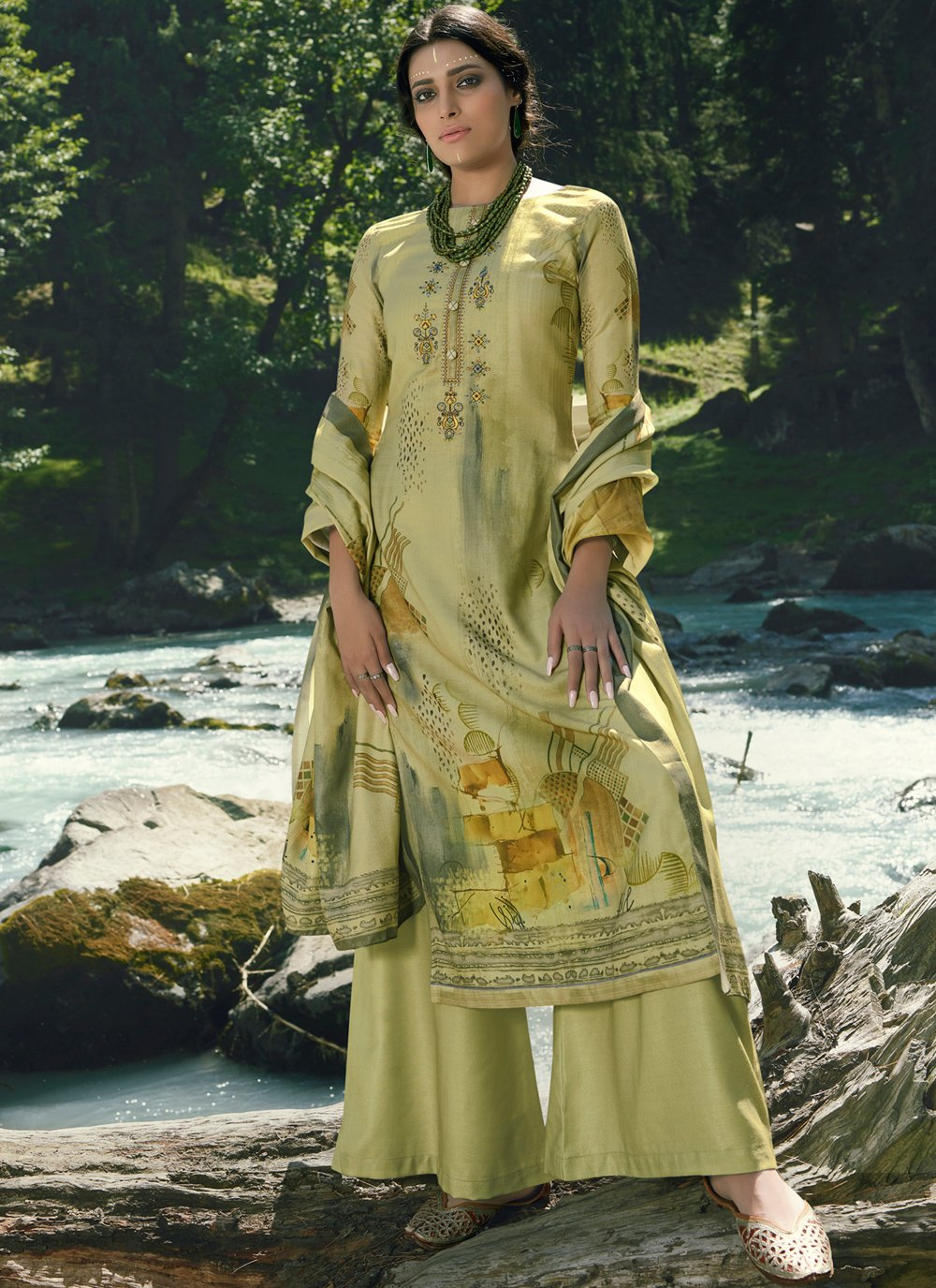 Green Embroidered Pashmina Palazzo Suit