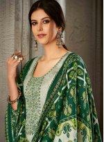 Green Embroidered Pashmina Trendy Salwar Suit