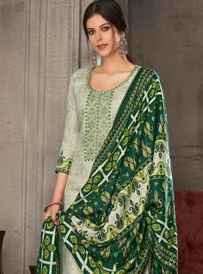 Green Embroidered Pashmina Trendy Salwar Suit