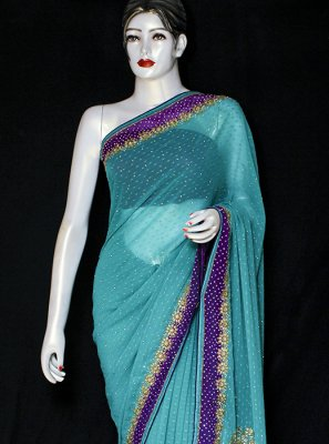 Green Embroidered Pure Chiffon Designer Saree