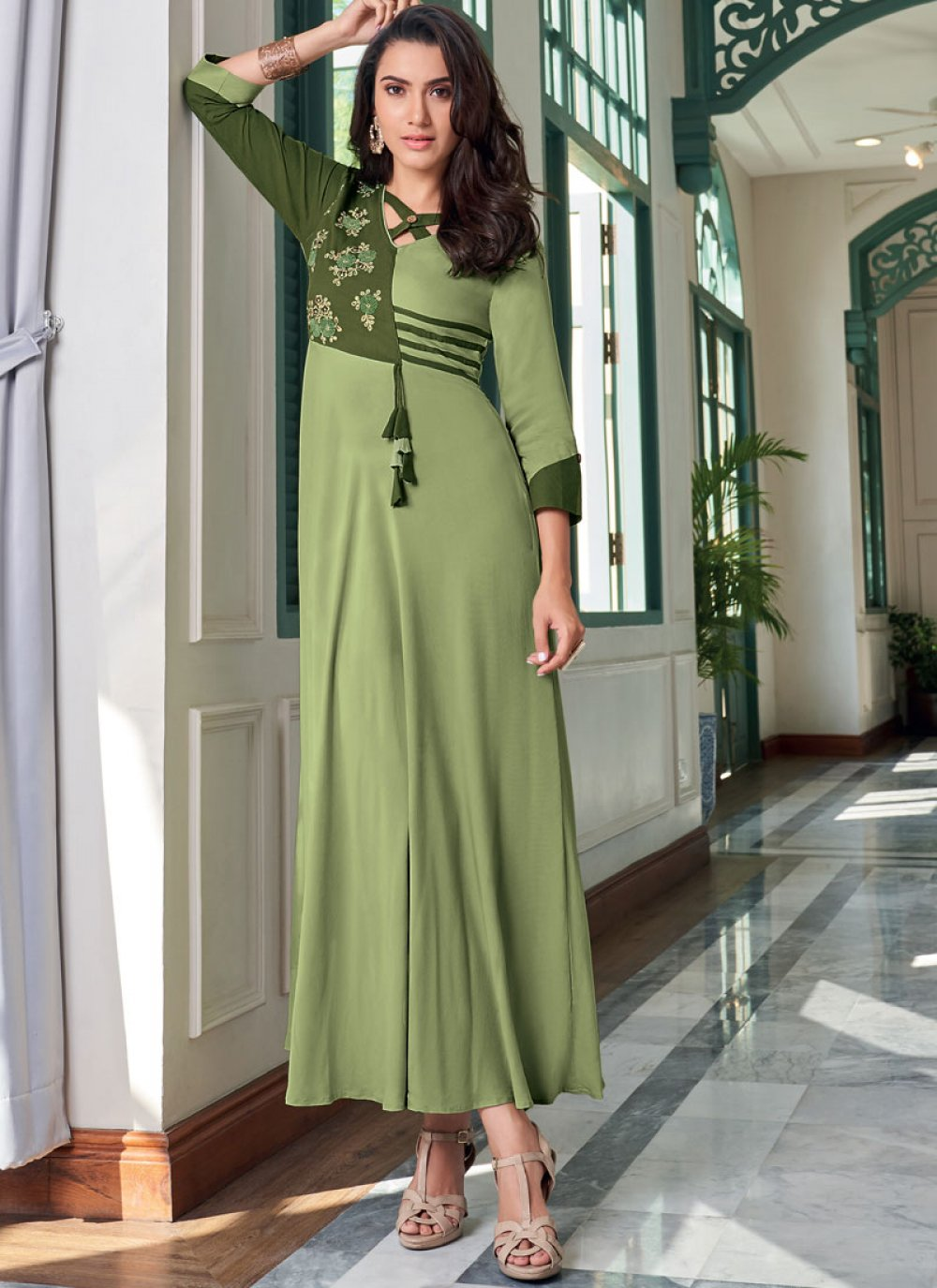 Green Embroidered Rayon Designer Kurti