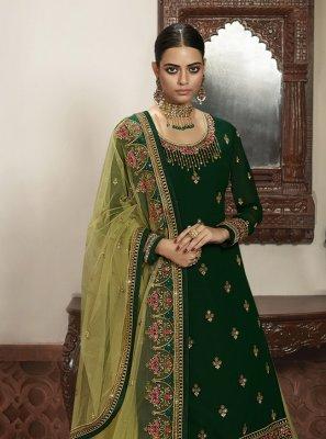 Green Embroidered Reception A Line Lehenga Choli