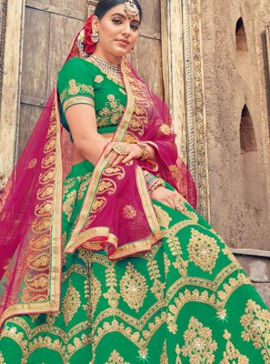 Green Embroidered Reception Designer Lehenga Choli
