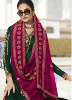 Green Embroidered Reception Designer Palazzo Suit