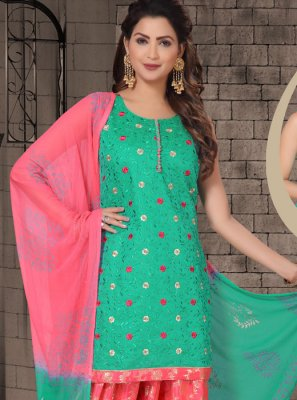 Green Embroidered Sangeet Salwar Kameez