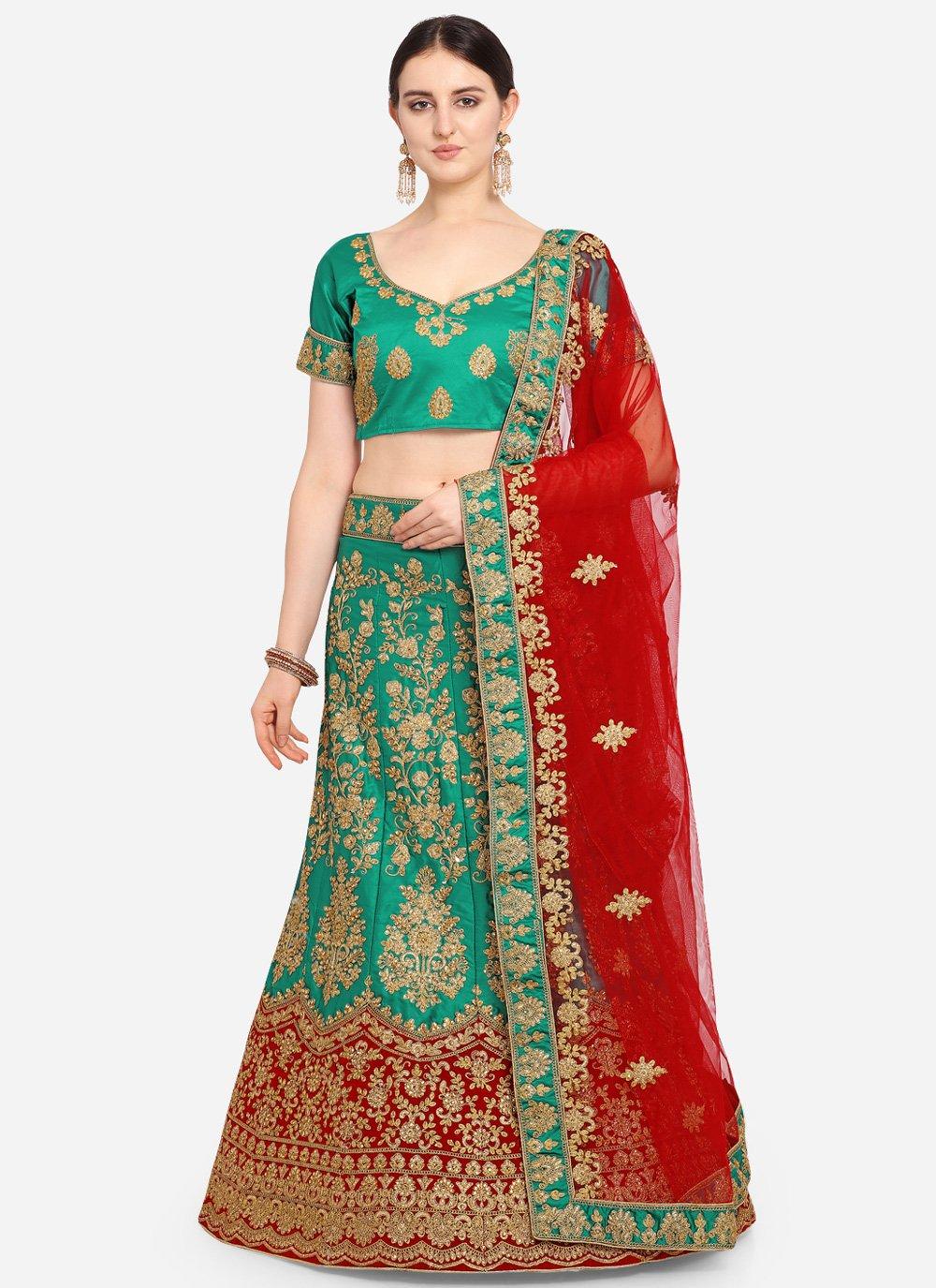 Green Embroidered Satin Bollywood Lehenga Choli