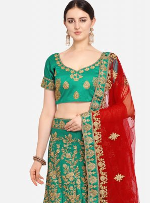 Green Embroidered Satin Bollywood Lehenga Choli