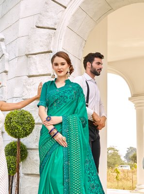 Green Embroidered Satin Designer Saree