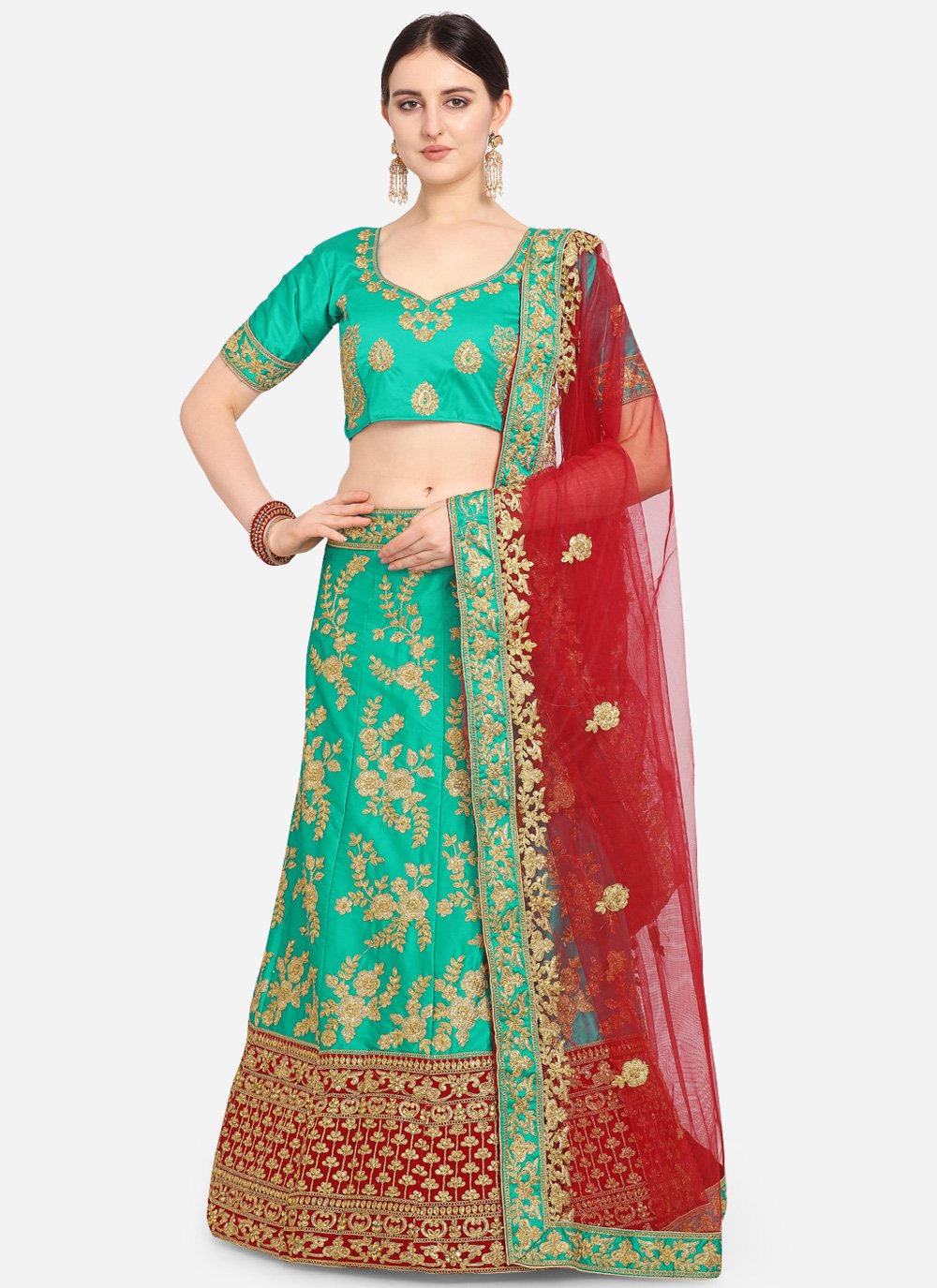 Green Embroidered Satin Trendy Lehenga Choli