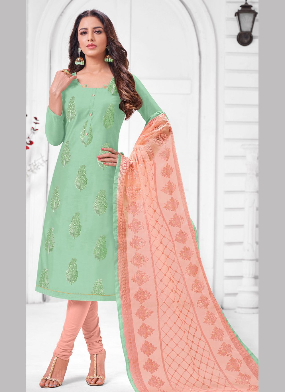 Green Embroidered Silk Salwar Suit