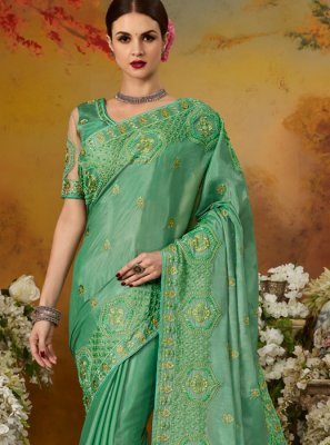Green Embroidered Silk Trendy Saree