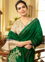 Green Embroidered Traditional Saree