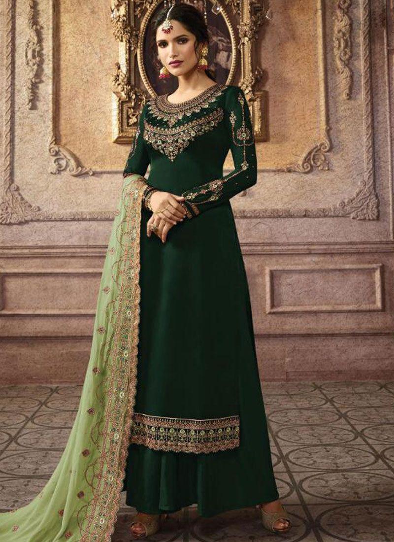 Green Embroidered Trendy Palazzo Salwar Kameez