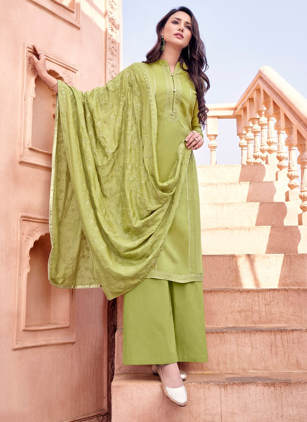 Green Embroidered Trendy Palazzo Salwar Kameez