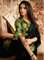 Green Embroidered Trendy Saree