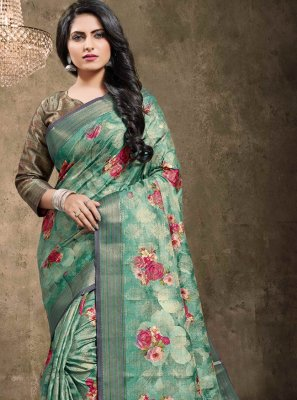 Green Engagement Jacquard Contemporary Saree
