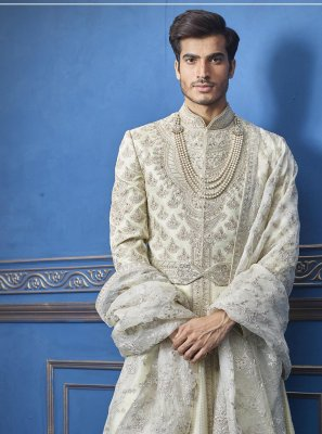 Green Engagement Pure Silk Sherwani