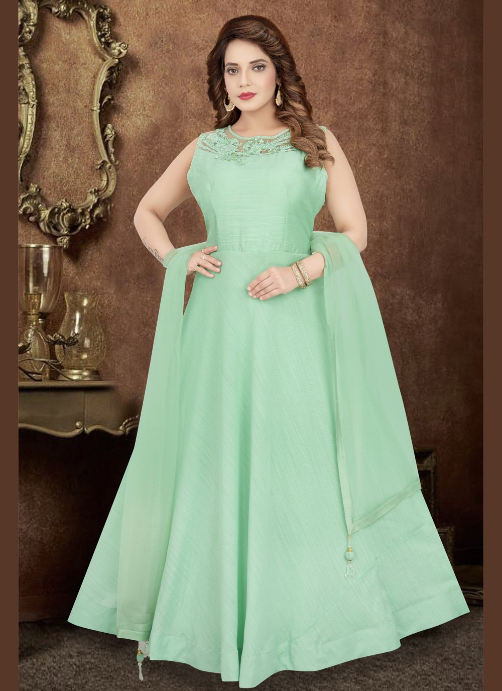 Green Engagement Trendy Designer Salwar Kameez