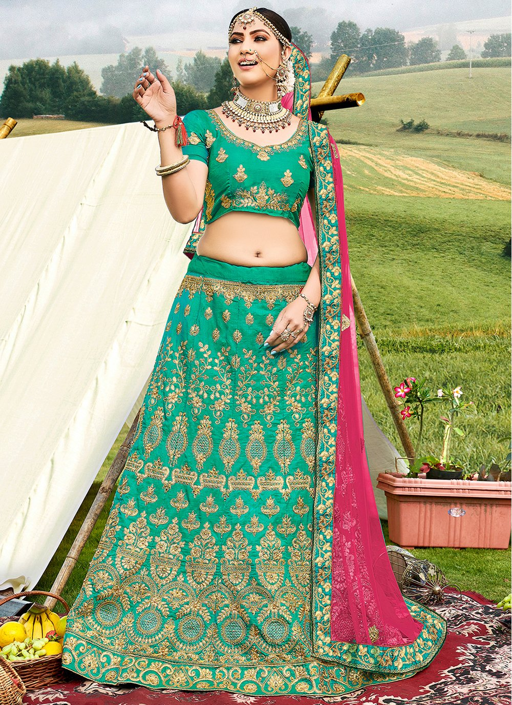 Green Engagement Trendy Lehenga Choli
