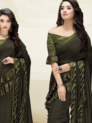 Green Fancy Fabric Wedding Designer Saree