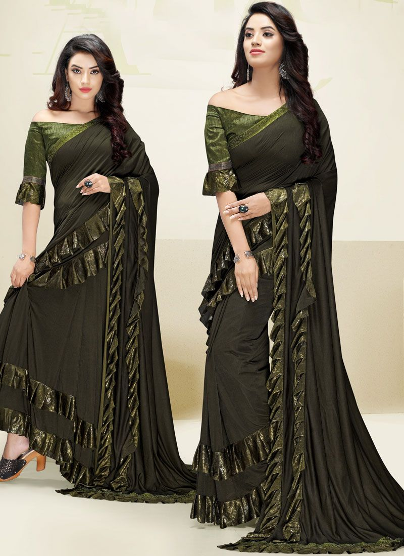Green Fancy Fabric Wedding Designer Saree