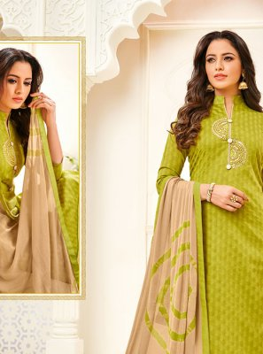 Green Fancy Fancy Fabric Churidar Designer Suit