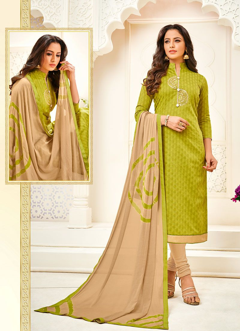 Green Fancy Fancy Fabric Churidar Designer Suit